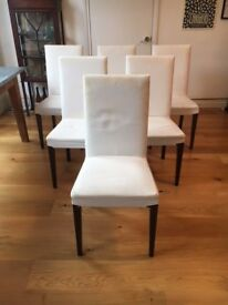 Set of 6 IKEA HENRIKSDAL Dining Chairs with white covers