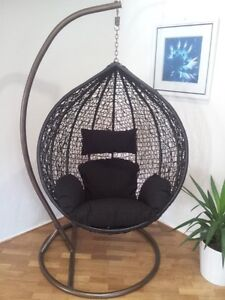 Brand New * Outdoor Swing Egg Trapeze Wicker Rattan Hanging Pod Chair * Black
