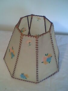 Rare Antique Hand Made Celluloid Lamp Shade with Painted Flowers