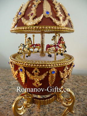 Russian Imperial Musical Carousel Egg BLUE DANUBE WALTZ  with a pendant Necklace, used for sale  Highlands