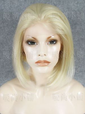 Light Blonde Front Lace Wig Sexy Short BOBO Straight Style Wig Synthetic (Sexy New Style Blonde Wig)