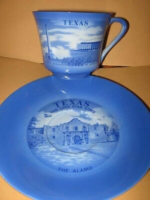 Vintage TEXAS Lone Star State Coffee SAUCER & CUP alamo astrodome porcelain blue