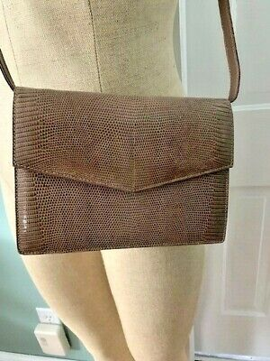 GUCCI Gold Logo LIZARD TAN- LIGHT BROWN Crossbody Shoulder Purse Bag Vintage