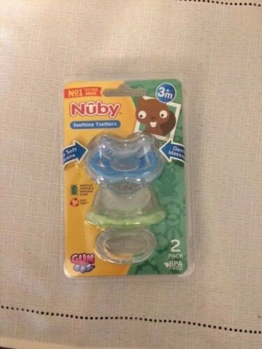 Nuby Soothing Teethers 2 Pack BPA Free Ages 3+Months New