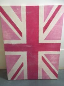 Pink Union Jack Picture measuring 22 by 30 inches