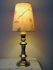 ~~ BRASS  TABLE LAMP with Handmade SHADE ~~