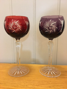 Pair of Bohemia Crystal Wine Glasses - Stained Red and Purple