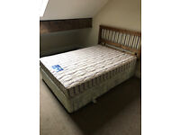 Double Divan Bed and Mattress with 4 Drawers and Oak Headboard