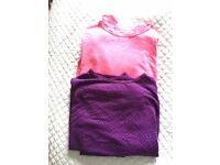 Girl's thermals x2 in pink and purple, Age 7-8