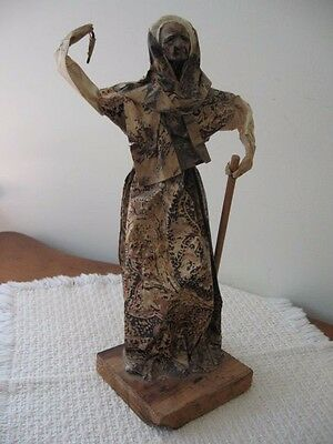 "Mexican Folk Art Paper Mache Wise Elder Figurine Signed Kalani '92 12.5"""