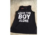Sleevless top for teenager to early 20s. > leave the boy alone' on front BNWT