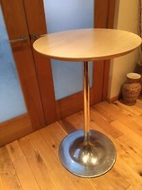 2 x Tall Round Coffee Tables - Beech Effect with Solid Chrome Stand Excellent Condition