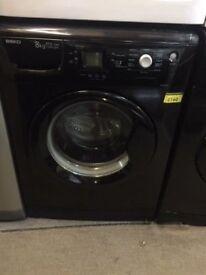 Black Beko 8kg 1200 spin washing machine with 6 month warranty