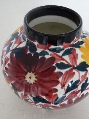 Große Jugendstil Keramik Vase Schramberg Majolika - Blumendekor - H.17cm