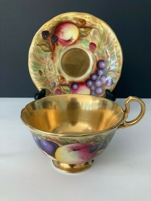 Aynsley Fruit Orchard Gold C746 pattern Footed Tea Cup & Saucer. England.