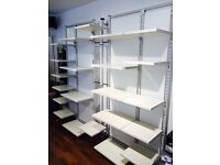 High Quality Versatile Modular Shop Fittings inc shelves, hanging and rails- White Oak & Grey metal