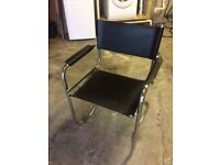 Cantilever chrome and leather chair