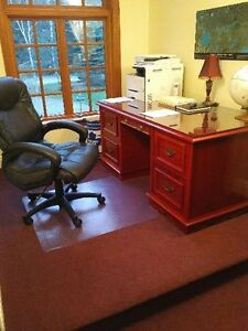 5 Drawer Solid Wood Desk with Leather Chair