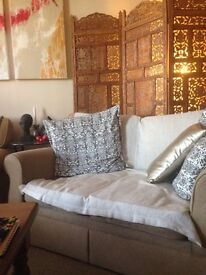 M&S beige couch. Bit tatty - but really comfortable and looks OK with throws and cushions.