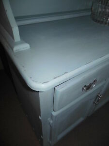 chalk painted, distressed, waxed, wood hutch, with crystal knobs London Ontario image 7