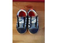 Boys shoes size 4, NEXT blue denim with stars. Velcro openings.