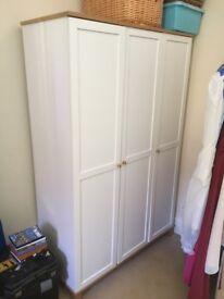 3 Door white wardrobe, £90.