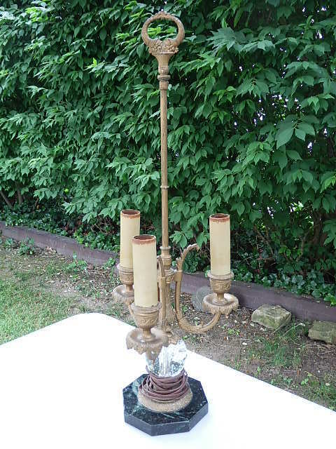 PAIRPOINT AMERICAN ART GLASS CANDLESTICK 3 LIGHT LAMP BASE D 3099 SIGNED WORKING