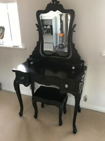 BlackDressing Table with Diamante Handles