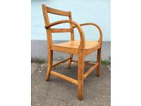 Rare 1950s RAF Air Ministry Bentwood Oak Elbow/Arm/Desk Chair. Vintage/Interiors