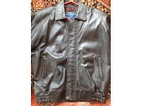 Mens Dark Brown Leather Jacket - Like New - XL