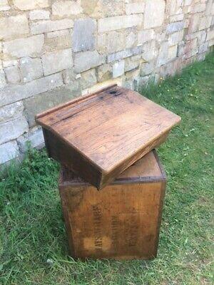 Original Vintage Wooden School Desk w/ flip top lid and ink well.