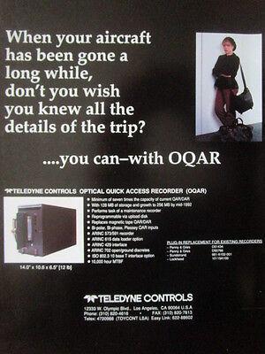 4/1992 PUB TELEDYNE CONTROLS OQAR OPTICAL QUICK ACCESS RECORDER ORIGINAL AD (Quick Access Recorder)