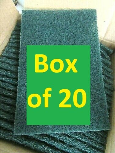 (Box of 20) *** Heavy Duty Green Scouring Pads 6 x 9 Antimicrobial