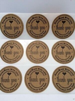 250 Thank You 2 Sticker Natural Kraft Paper Seals Handmade With Love For You