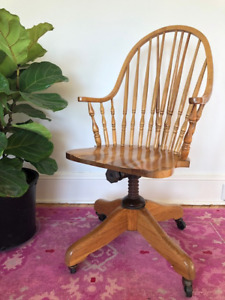Vintage Solid Oak Office Chair