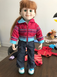 JENNA red haired Maplelea Canadian Doll, lot of clothes & shoes