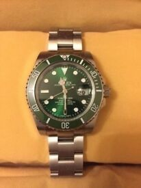 Rolex submariner the hulk green face glide lock extension 2.5x date ceramic bezal 120 clicks