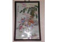 CHINESE PORCULIN HAND PAINTED FRAMED PLAQUE