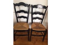 2 black dining chairs, great condition