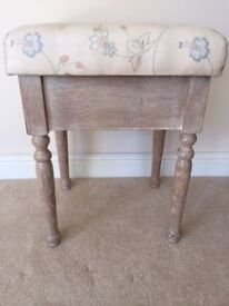 Pretty *SEWING STOOL* Art & Crafts Storage Dressing Table Modern Lime Washed Wooden Seat