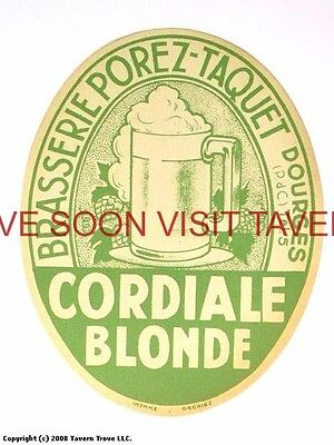 Scarce France Porez-Taquet Cordiale Blonde Biere Tavern Trove French Beer (French Blonde Beer)
