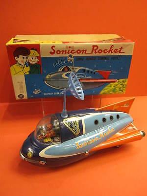ALL ORIGINAL MASUDAYA SONICON ROCKET + ORIGINAL BOX 1960 SPACE TOY ROBOT