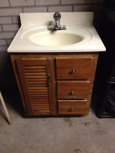 Bathroom Vanity (Solid Wood) with 1-Piece Mold Sink and Faucet