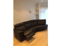 FOR SALE - VGC Leather Settee - 3 seater corner unit and matchin 1 seater with footstool