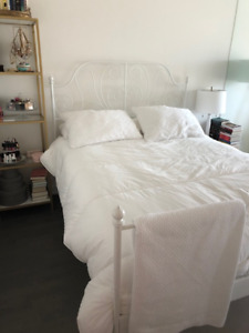 White Ikea Leirvik Queen Bed Frame - Like New