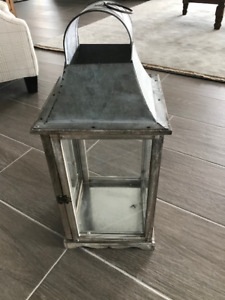 Lantern (Tin metal top with wood and glass)