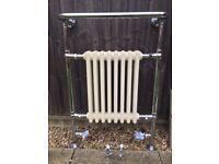Victorian style chrome and cream bathroom radiator
