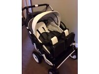 Double/twin pram ADBOR with 2 car seats