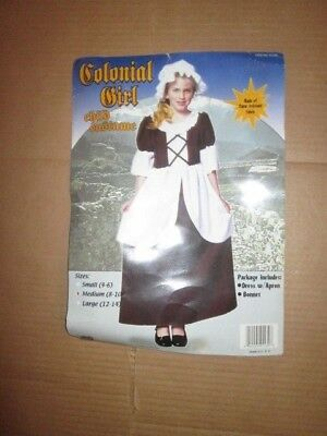 Girls COLONIAL GIRL PIONEER PILGRIM Halloween Costume M Md Med 8 - 10
