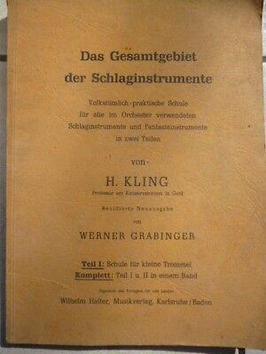 Buch Volkstümlich-praktische Schule Schlaginstrumente ( sehr alt ) ca.50er Jahre